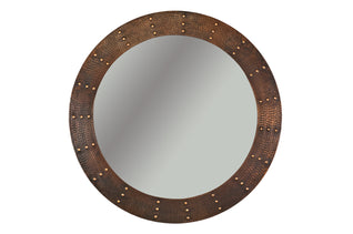 "34"" Hand Hammered Round Copper Mirror with Hand Forged Rivets"