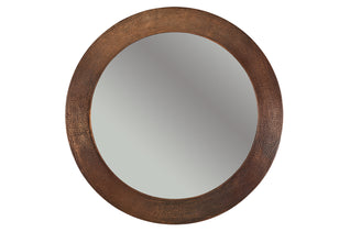 "34"" Hand Hammered Round Copper Mirror"