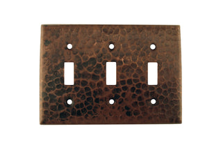 Copper Switchplate Triple Toggle Switch Cover