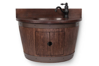 Wall Mounted Wine Barrel Vanity and Faucet Package/Combo - Whiskey Finish