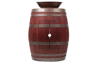 "Wine Barrel Vanity Package with 17"" Oval Wired Rim Vessel Sink - Cabernet Finish"
