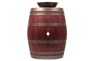 "Wine Barrel Vanity Package with 15"" Round Wired Rim Vessel Sink - Cabernet Finish"