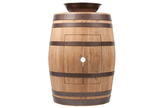 "Wine Barrel Vanity Package with 15"" Round Wired Rim Vessel Sink - Natural Finish"