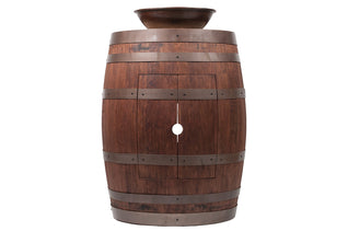 "Wine Barrel Vanity Package with 15"" Round Wired Rim Vessel Sink - Whiskey Finish"