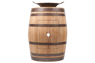 "Wine Barrel Vanity Package with 16"" Round Miners Pan Vessel Sink - Natural Finish"
