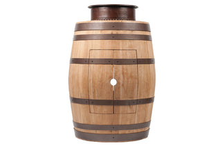 "Wine Barrel Vanity Package with 15"" Round Vessel Tub Sink - Natural Finish"