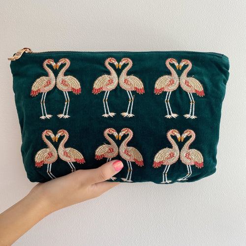 Kissing Flamingo Velvet Everyday Pouch