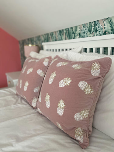 Pineapple Mauve Velvet Cushion