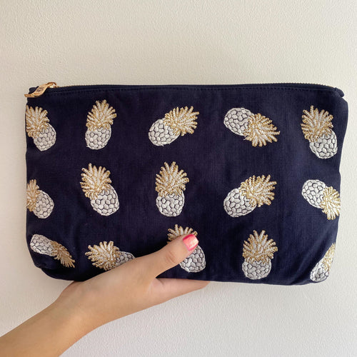 Pineapple Indigo Everyday Pouch