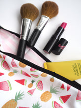 Load image into Gallery viewer, Large Pineapple & Watermelon Pouch Make Up Bag