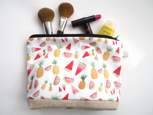 Large Pineapple & Watermelon Pouch Make Up Bag