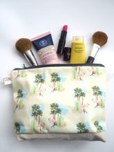 Load image into Gallery viewer, Large Flamingo Palm Pouch Make Up Toiletry Bag