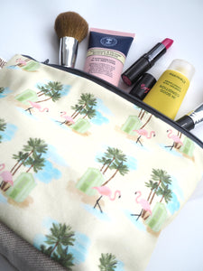 Large Flamingo Palm Pouch Make Up Toiletry Bag