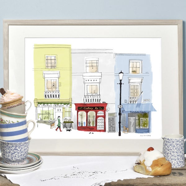 Alice Tait 'Portobello Road, Antique Shops' Print