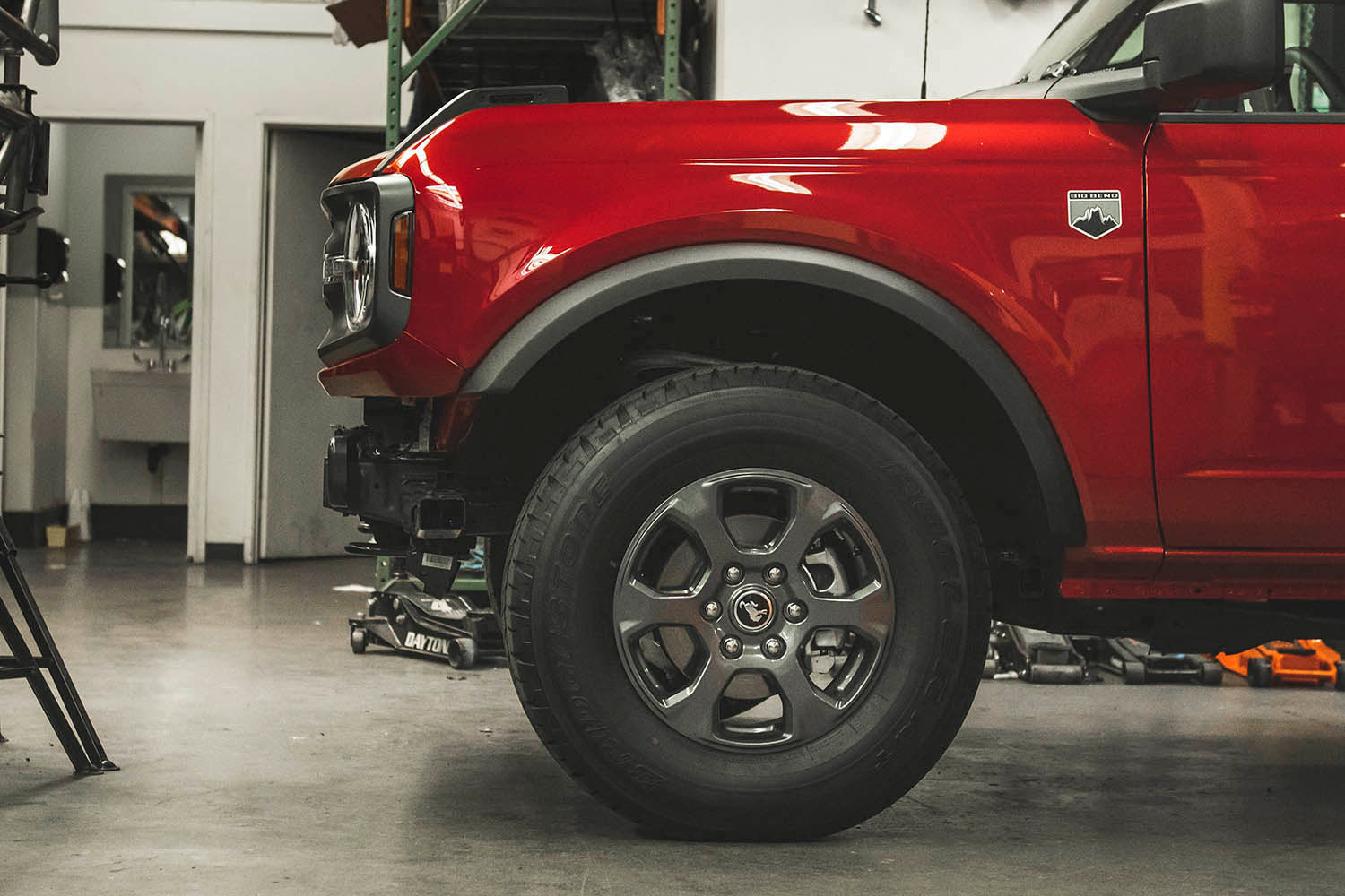 detail shot of new ford bronco in the shop