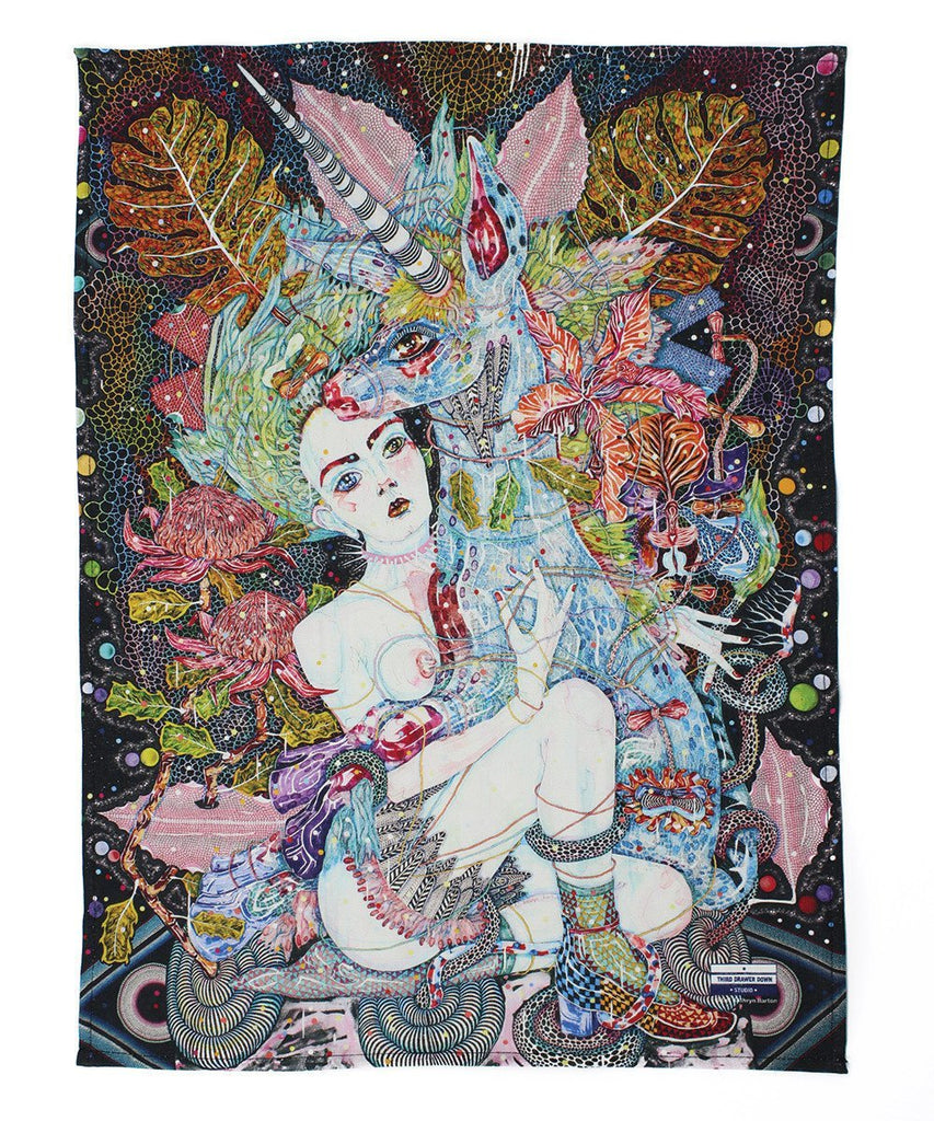 Third Drawer Down X Del Kathryn Barton, Cosmic Crime Tea Towel