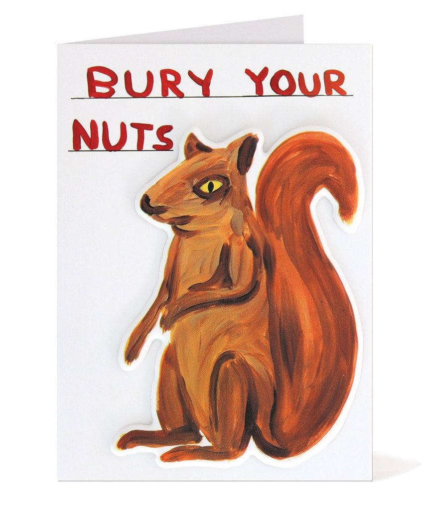 David Shrigley Bury Your Nuts Puffy Sticker Card