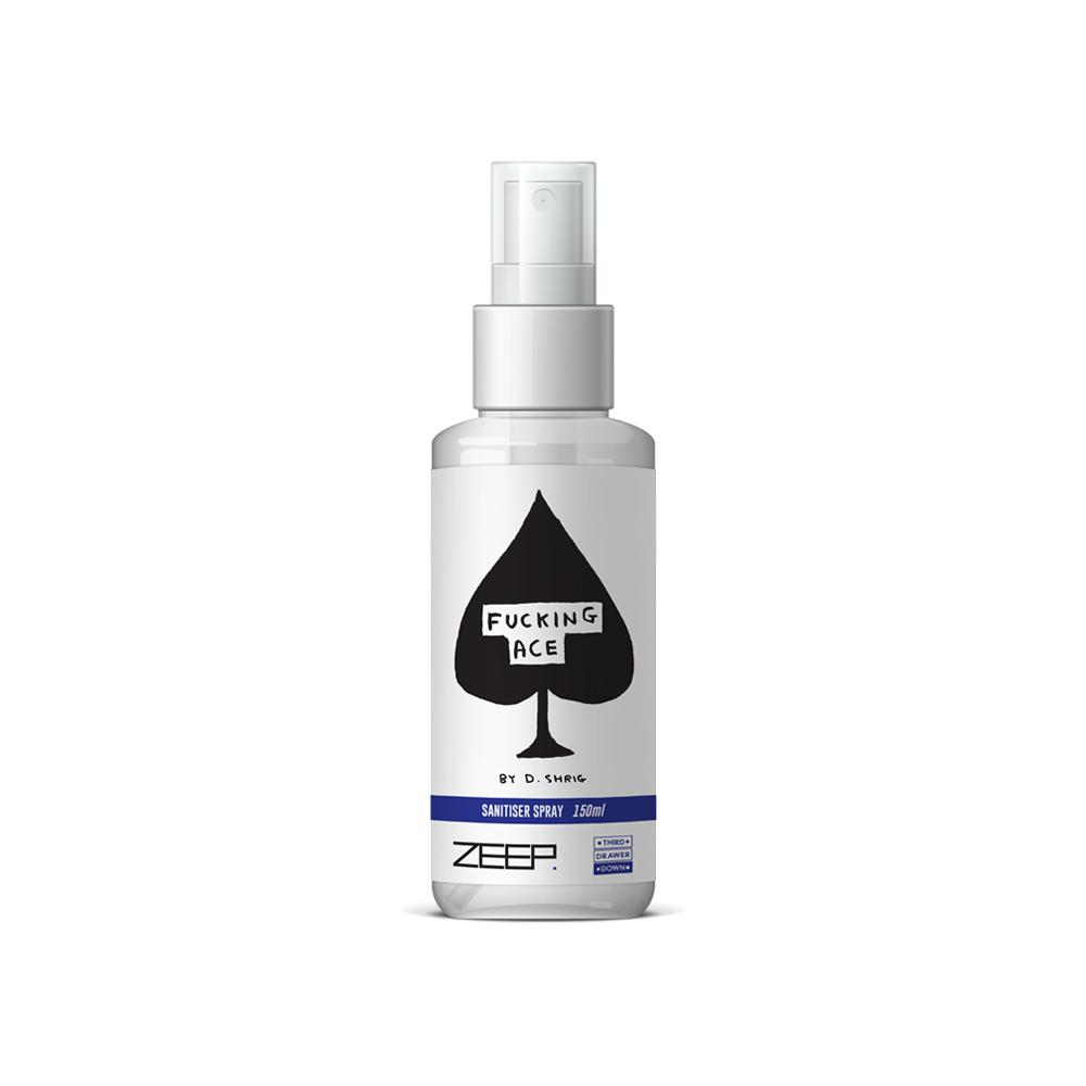 ACE Sanitiser Spray 150ml x David Shrigley Skincare Third Drawer Down x ZEEP