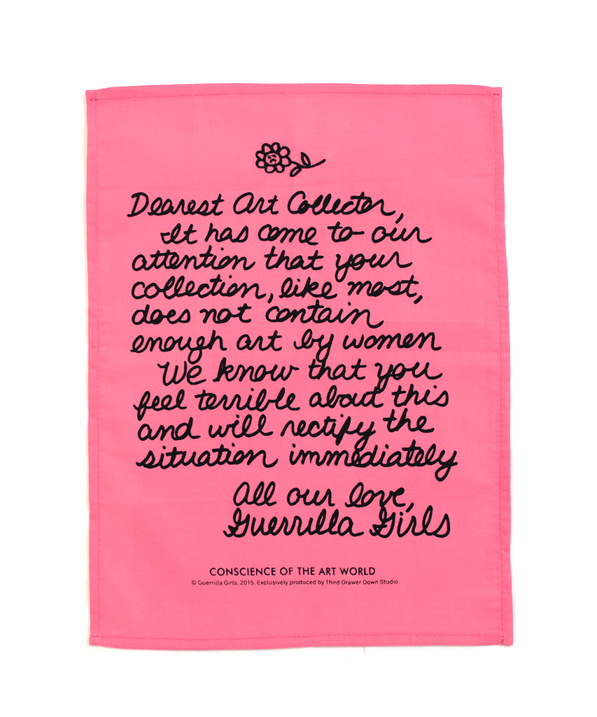 Third Drawer Down X Guerrilla Girls, Dear Art Collector Handkerchief Textiles Third Drawer Down