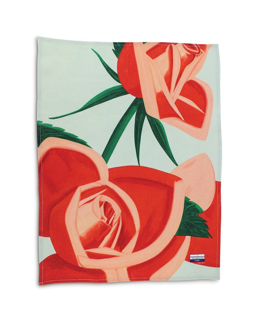 Third Drawer Down X Alex Katz, Red Rose Linen Tea Towel