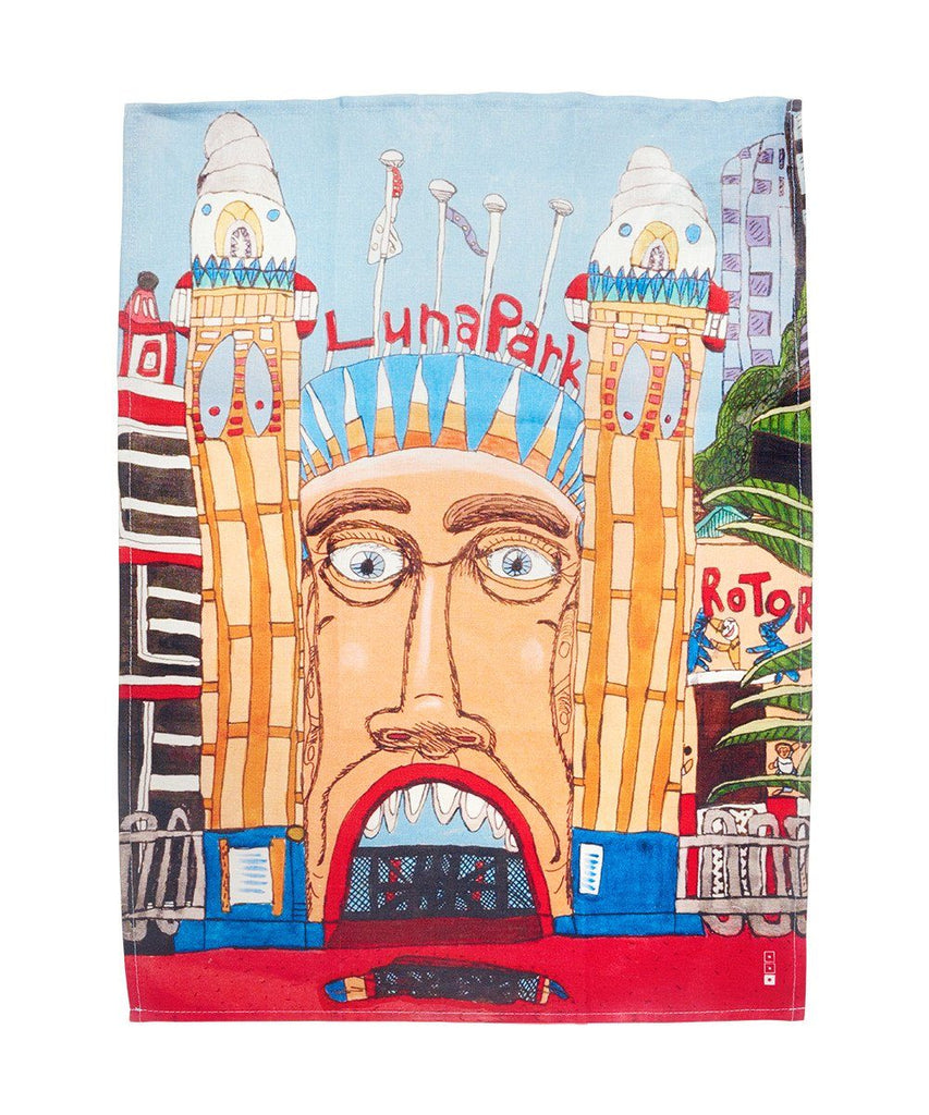 Third Drawer Down X Arts Project Australia, Luna Park Tea Towel