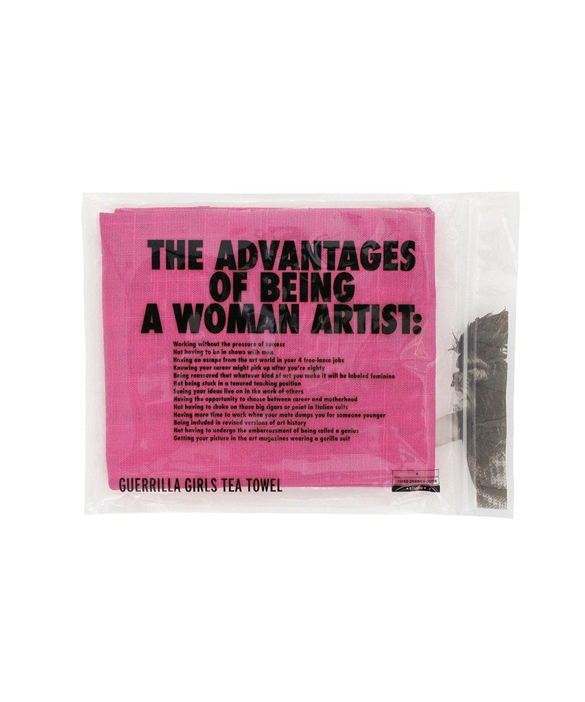 Third Drawer Down X Guerrilla Girls, Advantages of Being a Woman Artist Tea Towel Textiles Third Drawer Down