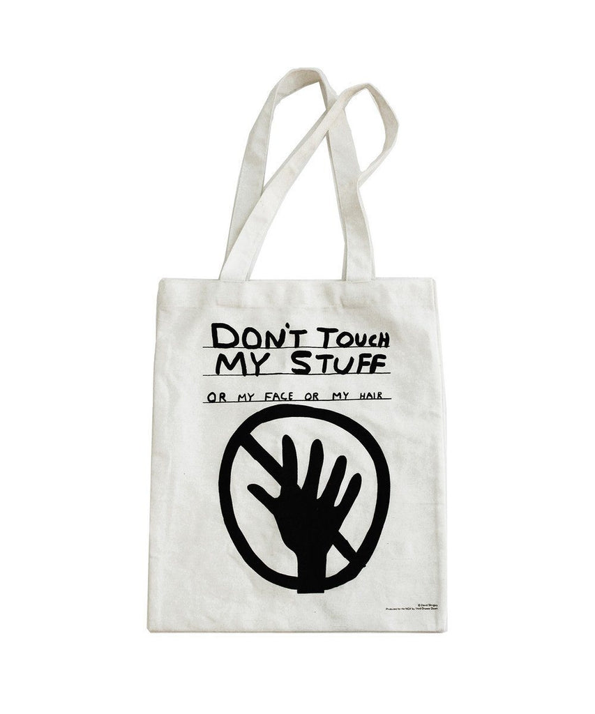 Third Drawer Down X David Shrigley, Don't Touch My Stuff Tote