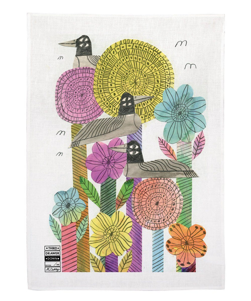 Third Drawer Down X Marcus Oakley, Flower and Birds Tea Towel