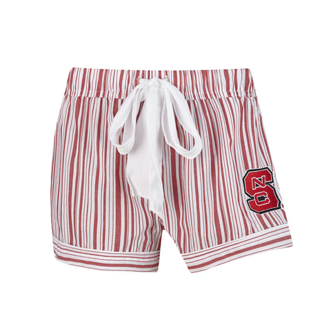 NC State Wolfpack Women's Red and White Principle Woven Shorts