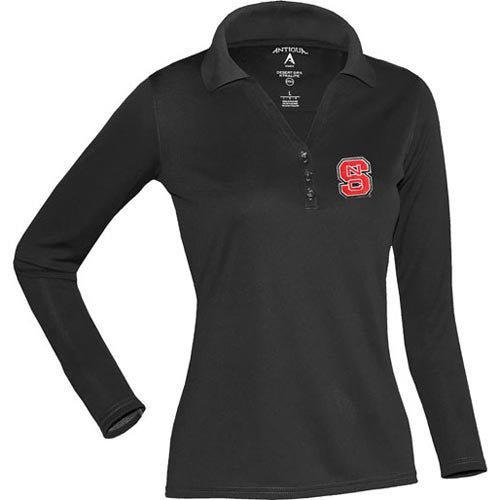 NC State Wolfpack Black Antigua® Women's Long Sleeve Exceed Polo