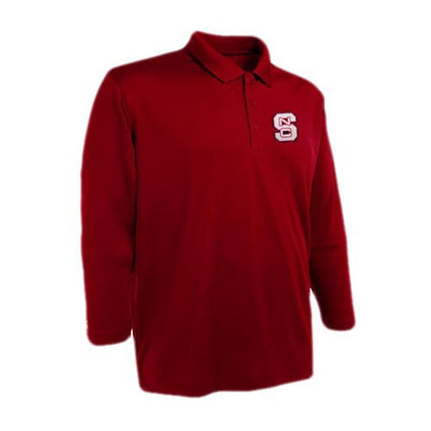 NC State Wolfpack Red Antigua® Exceed Long Sleeve Polo