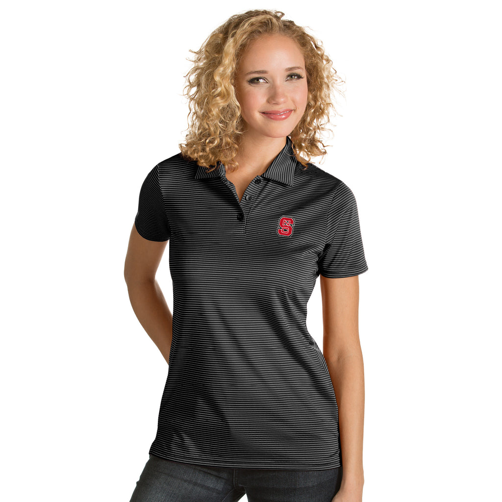 NC State Wolfpack Women's Antigua Black Quest Polo