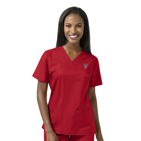 NC State Wolfpack Women's Red Wolfhead Scrub Top