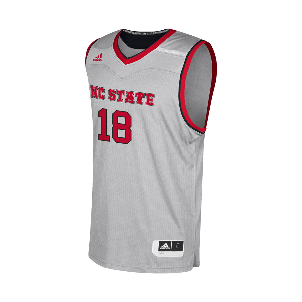 9a250003cdea NC State Wolfpack Adidas Grey  18 Replica Basketball Jersey – Red and White  Shop