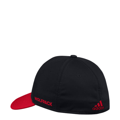 NC State Wolfpack Adidas Black 2018 Sideline Coaches Block S Structured Flex Hat