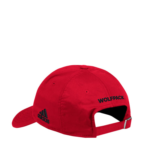 NC State Wolfpack Adidas Red 2018 Sideline Coaches Block S Adjustable Hat