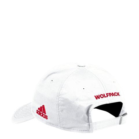 NC State Wolfpack Adidas White 2018 Sideline Coaches Block S Adjustable Hat