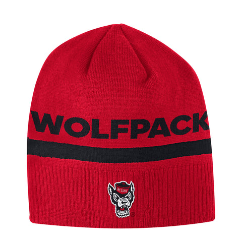 NC State Wolfpack Adidas Red Sideline Coaches Wolfhead Beanie