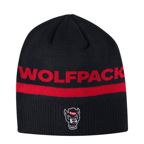NC State Wolfpack Adidas Black Sideline Coaches Wolfhead Beanie