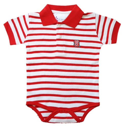 NC State Wolfpack Infant Red and White Stripe Golf Creeper