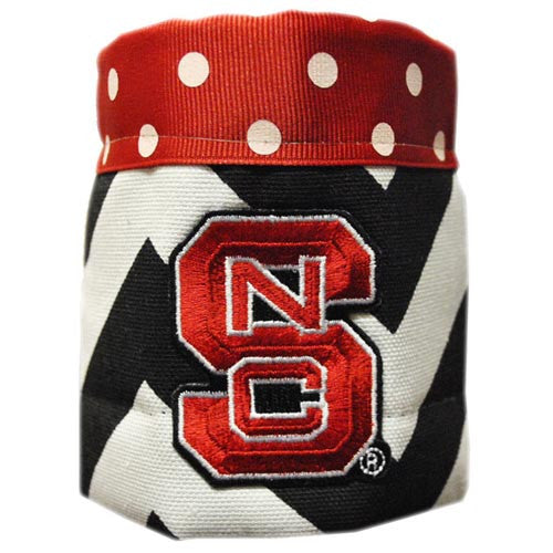 NC State Wolfpack Chevron Polka Dot Design Collapsible Koozie