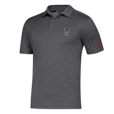 NC State Wolfpack Adidas Grey Wolfhead Game Mode  Coaches Sideline Polo