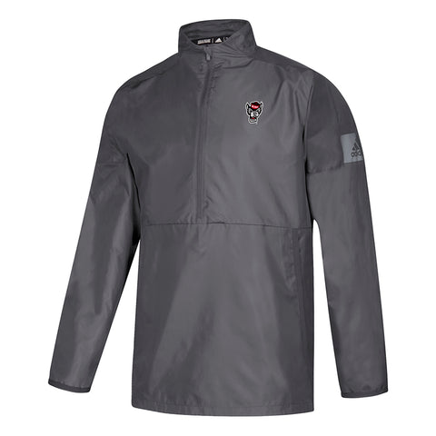 NC State Wolfpack Adidas Grey Game Mode Sideline Coaches 1/4 Zip Long Sleeve Woven Jacket w/Pockets