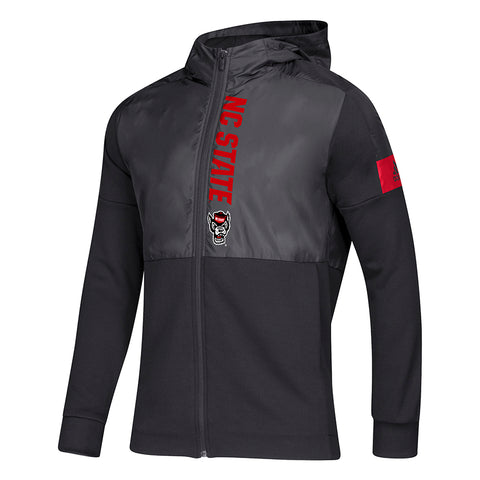 NC State Wolfpack Adidas Black Wolfhead Game Mode Full Zip Hooded Jacket