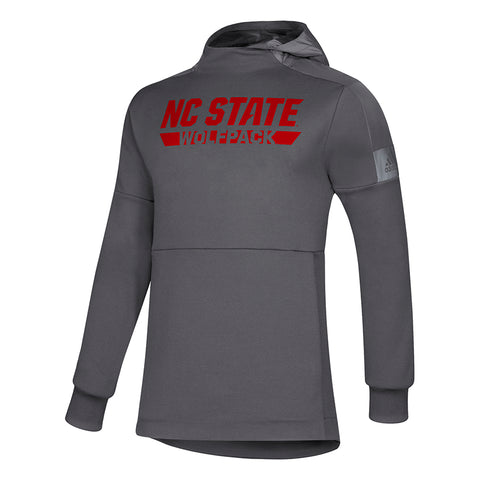 NC State Wolfpack Adidas Grey Game Mode Performance Pullover Hooded Jacket