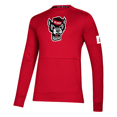 NC State Wolfpack Adidas Red Wolfhead Game Mode Crewneck Sweatshirt