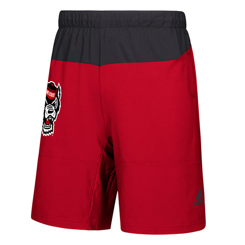 NC State Wolfpack Adidas Red and Black Wolfhead Game Mode Woven Shorts