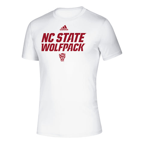 NC State Wolfpack Adidas White Wolfhead Climalite Creator T-Shirt