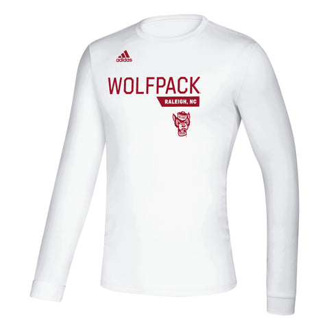 NC State Wolfpack Adidas White Football Sideline Wolfhead Climalite Creator Long Sleeve T-Shirt