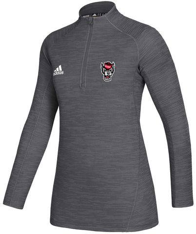 NC State Wolfpack Adidas Women's Grey Under The Lights 1/4 Zip Jacket